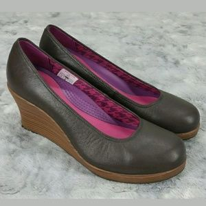 Crocs Brown 8.5 Stacked Heel Wedges